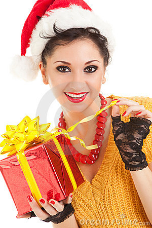 Fun woman with christmas gift