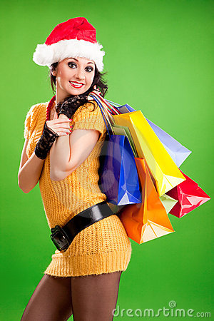 Fun woman with color packages