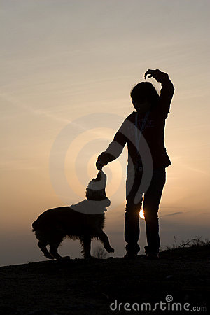 Fun of woman and dog in sunset