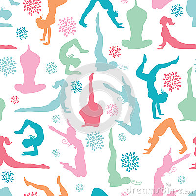 Fun workout fitness girls seamless pattern