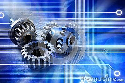 Fundo da tecnologia das rodas denteadas do computador