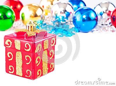 Fundo do ano novo com esferas coloridas