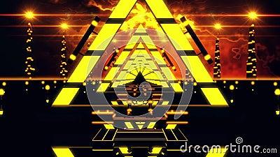 fundo do laço do túnel VJ dos triângulos do sumário do amarelo do ouro 3D ilustração stock