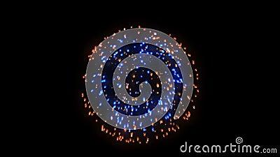 Fundo dos fogos-de-artifício, o vermelho e o azul do feriado, contra o preto vídeos de arquivo