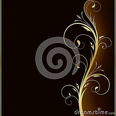 Fundo escuro elegante com projeto floral dourado