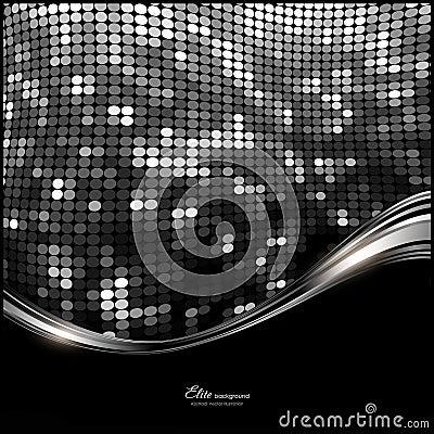 Fundo preto, branco, de prata abstrato do glitter