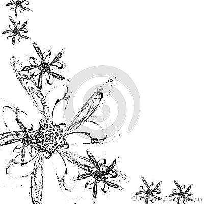 Fundo preto e branco com flores