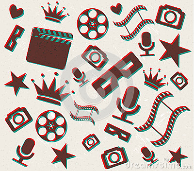 Fundo retro do cinema 3d