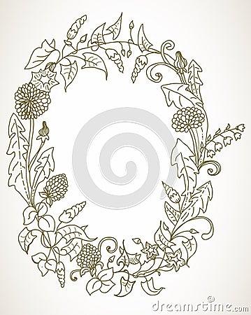 Fundo romântico com a grinalda da flor selvagem