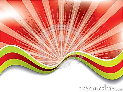 Download Fundo Vermelho Abstrato Com Ondas Coloridas Imagem de Stock