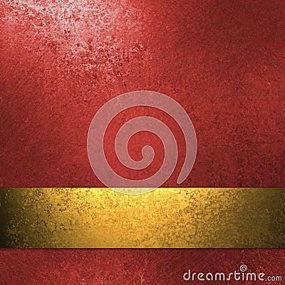 Fundo vermelho com fita do ouro