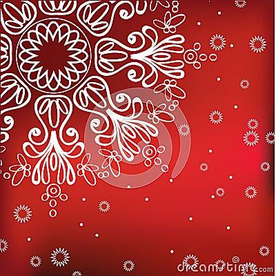 Fundo vermelho do inverno com floco de neve