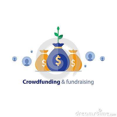 Free Fundraising Campaign, Crowdfunding Concept, Charity Donation, Vector Illustration Royalty Free Stock Images - 101419739
