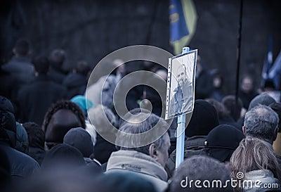 Funeral evromaydan activist self-defense Editorial Stock Image