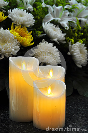 Free Funeral Flowers And Candles Royalty Free Stock Image - 62963656