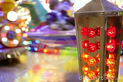 Funfair fairground attraction nigh colorful light