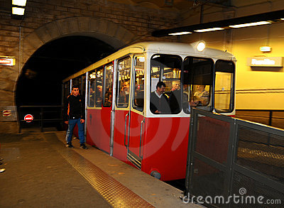 Funicular 1 of Lyon at Fourvière. Editorial Stock Photo