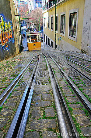 Funicular της Λισσαβώνας Εκδοτική Εικόνες
