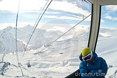 Funicular in Caucasus mountains