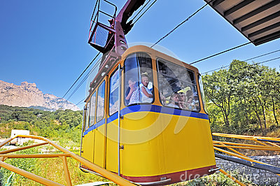 The funicular lifts people to AI-Petri mountain. Editorial Stock Photo