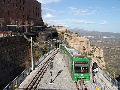 Funicular at Monserrat Mountain in Spain