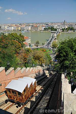 Funicular Palace Railway in Budapest Editorial Stock Photo