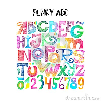 Free Funky ABC. Sketchy Letters And Numerals Royalty Free Stock Photos - 103023098