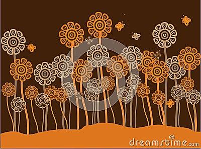 Funky brown & orange retro flowers & butterflies