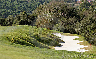 Funky bunker on golf course in Spain
