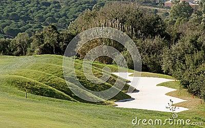 Funky bunker on golf course in Spain