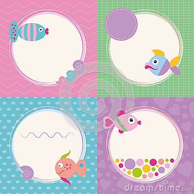 Free Funky Cartoon Fish Greeting Cards Collection Stock Photography - 36280362