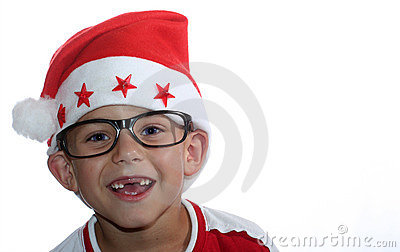 Funky Christmas kid with glasses