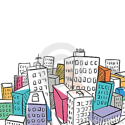 Funky city doodle illustration