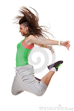 Funky dancer jumping with knees bent