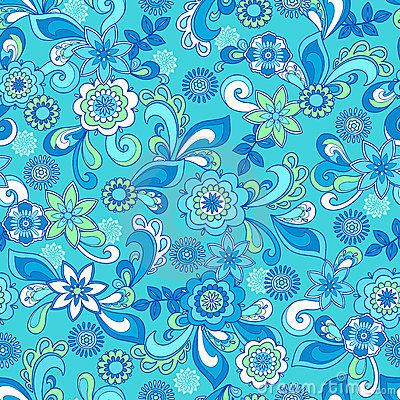 Free Funky Floral Seamless Repeat Pattern Royalty Free Stock Photo - 9157115