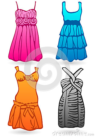 Funky four colored dresses. Vector
