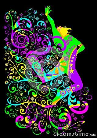 Funky jumping dancer