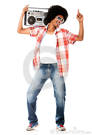 Funky man listening to music