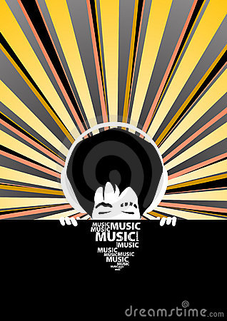 Free Funky Music Poster With Cool Man With Headphones Stock Images - 4617994