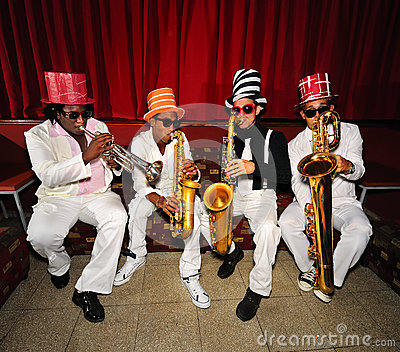 Funky musicians, wind instruments