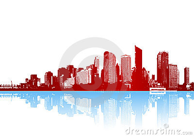 Funky panorama of city with reflection. Vector
