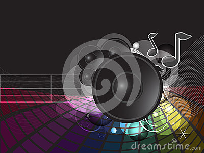 Funky rainbow music illustration