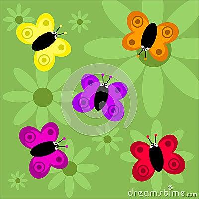 Funky retro butterflies