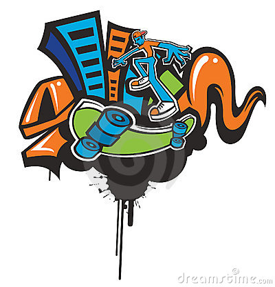 Funky skateboarding background.