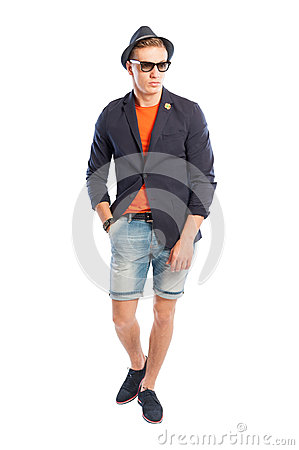 Funky Suit Jacket And Short Jeans Stock Photo - Image: 44883393