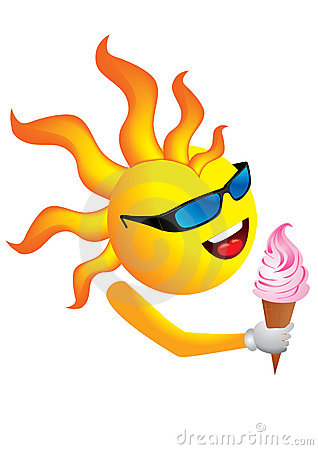 Funky sun with ice cream