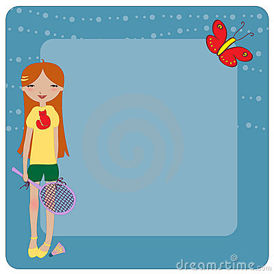 Funky Young girl, playing badminton