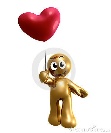 Funny 3d icon holding heart balloon