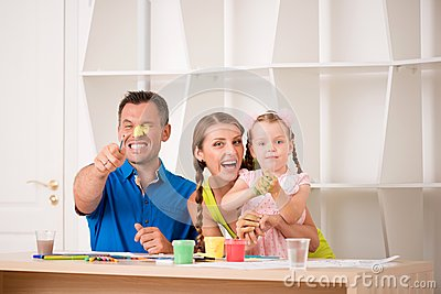 Funny adorable family paining