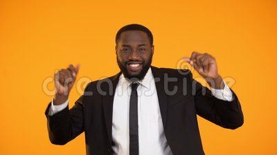Funny african-american businessman dancing, successful deal, rich sexy man. Stock footage stock video